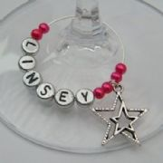 Detailed Double Star Outline Personalised Wine Glass Charm
